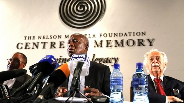South Africa's Deputy Chief Justice Dikgang Moseneke, (c), Advocate George Bizos, (r)and Prof. Njabulo Ndebele, (l)
