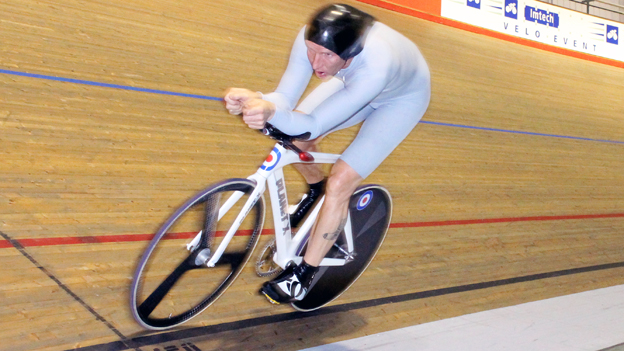 Justyn Cannon during his record attempt at Newport Velodrome
