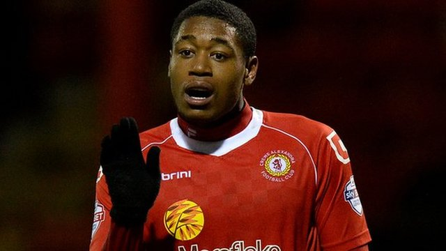 Crewe Alexandra's on-loan Arsenal midfield man Chuks Aneke