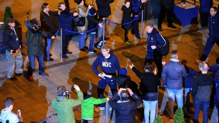 Manuel Pellegrini arrives at Etihad Stadium