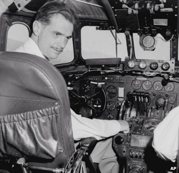Howard Hughes at the controls of an unidentified aircraft, in 1947