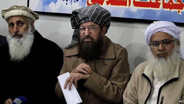 Taliban negotiators, from left, Prof Ibrahim Khan, Maulana Sami-ul-Haq, and Maulana Abdul Aziz