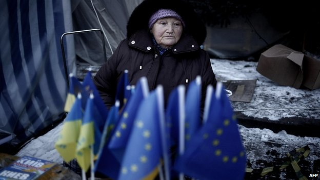 EU flags for sale in Kiev. 3 Feb 2014