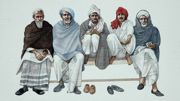 Lifelike painting of five men in robes, seated on a bench