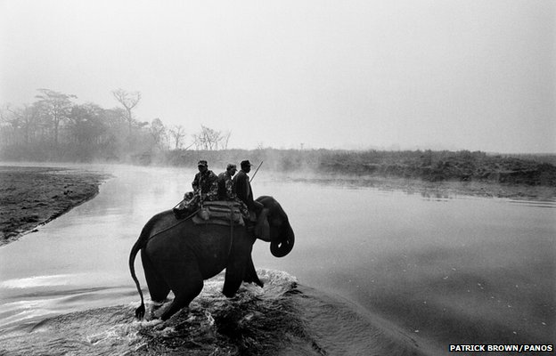 A small group of Royal Nepalese soldiers patrol the Royal Chitwan National Park (RCNP) at dawn