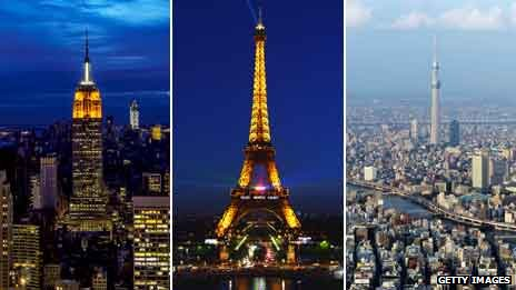 Skylines of New York, Paris and Tokyo