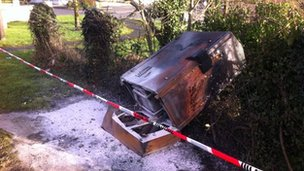 Network cable distribution boxes were destroyed in the petrol bomb attack