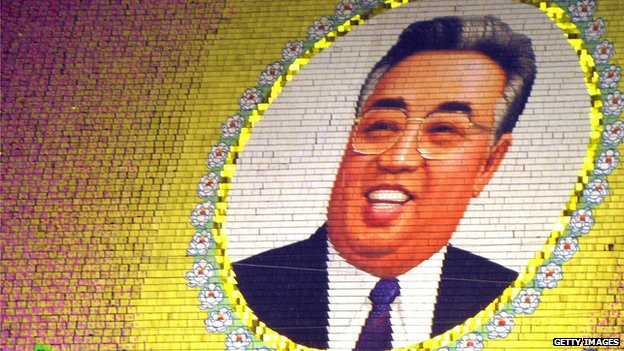 An image of Kim Il-sung at the Arirang mass games in Pyongyang