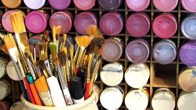 Paint brushes and pots