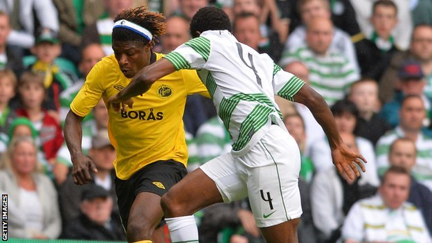 Mo Bangura (left) in action for Elfsborg against Celtic