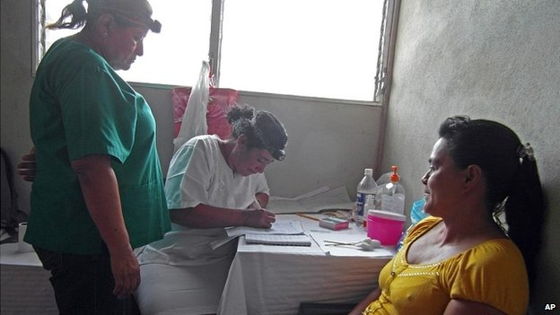Woman in Nicaragua is screened for cervical cancer