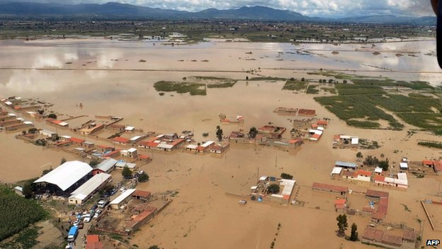 Aerial view of the locality of Clisa, in Cochabamba flooded by heavy rains on 30 January, 2014
