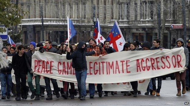 Protest in Tbilisi (1 Feb 2014)