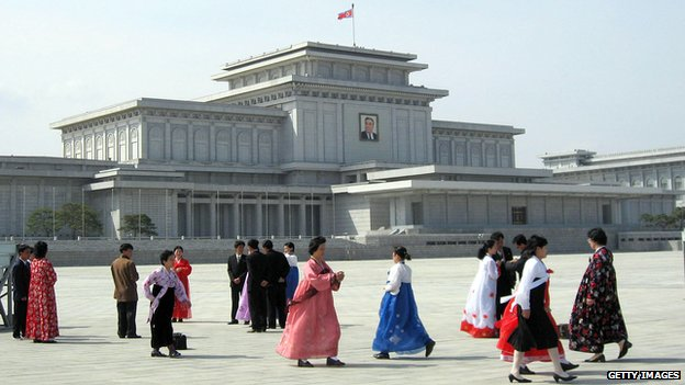Women in traditional Choson-ot costumes file past the Kumsusan Memorial Palace
