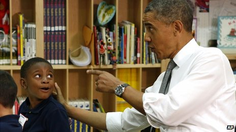 President Obama in pre-kindergarten class