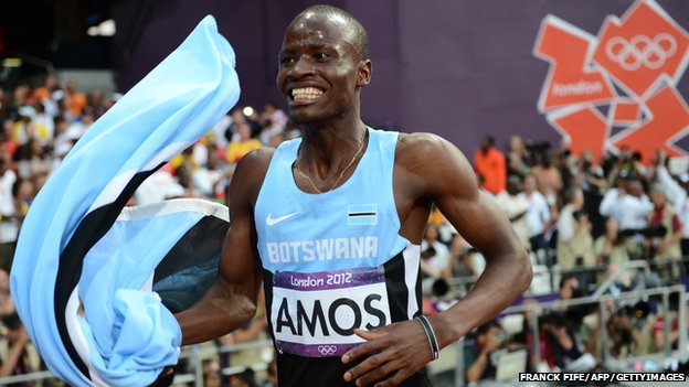 Nijel Amos celebrating after winning the silver medal at London 2012