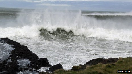 Waves crashing along the shore at Portrush, County Antrim