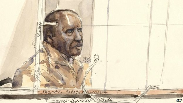 A sketch showing Pascal Simbikangwa in court in Paris on 4 February 2014