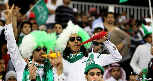 Saudi Arabian fans at a match against Iraq in January 2013
