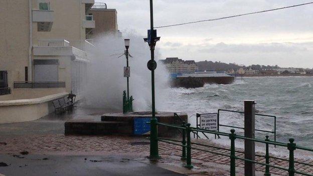 Wave hitting Havre des Pas