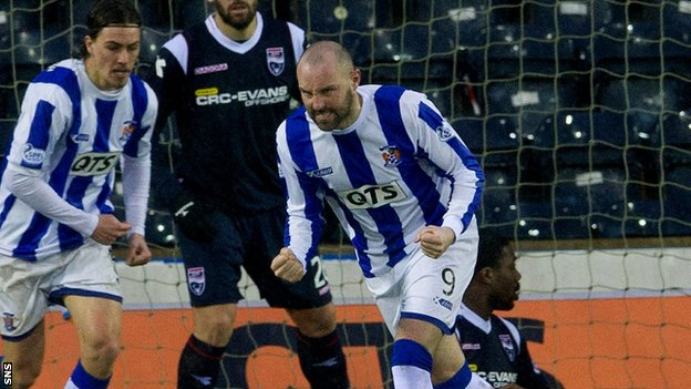 Kilmarnock striker Kris Boyd celebrates after scoring against Ross County