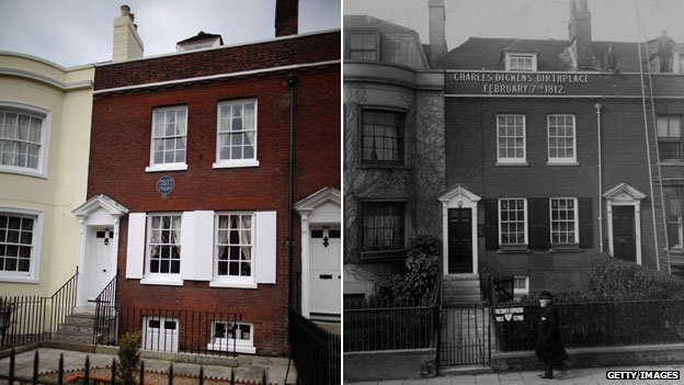 Charles Dickens' birthplace today and at about the time it opened in 1904