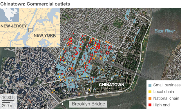 Commercial outlets in Chinatown, New York