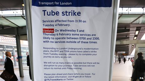Tube strike notice