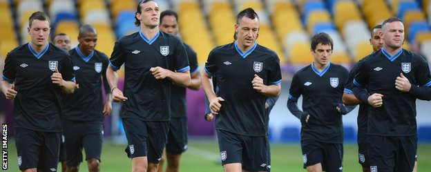 John Terry and England team mates