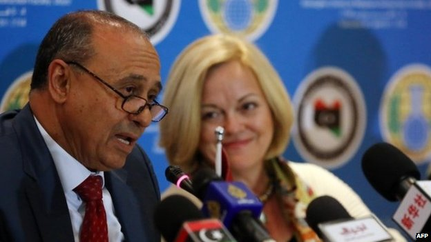 Libyan Foreign Minister Mohamed Abdelaziz (left) speaks, as US Ambassador to Libya Deborah Jones (right) looks on, during a press conference in Tripoli. Photo: 4 February 2014