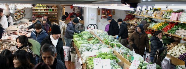 Basement market in Chinatown, New York
