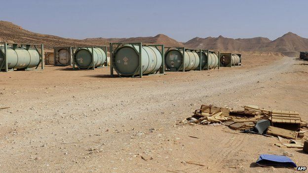 Tanks with unidentified chemicals in Libya. Photo: November 2011