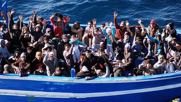 Migrants arrive off Lampedusa. 22 Jan 2014