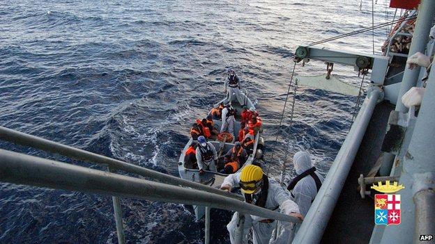 Immigrants rescued by Italian navy near Italian island of Lampedusa. 2 Jan 2014