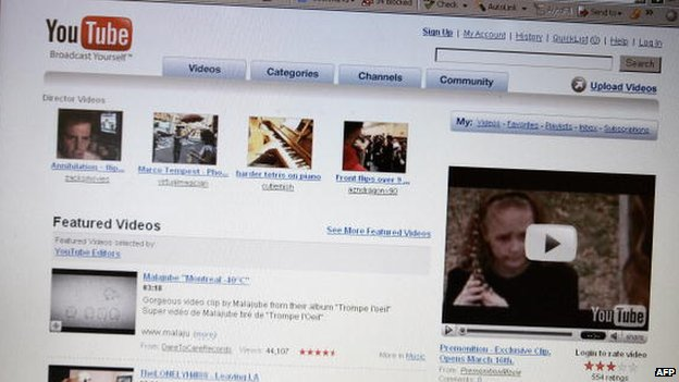 Photo of YouTube home page