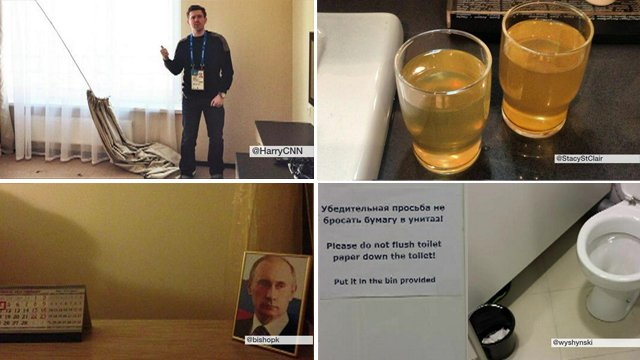 Twitter photos of Sochi hotel rooms