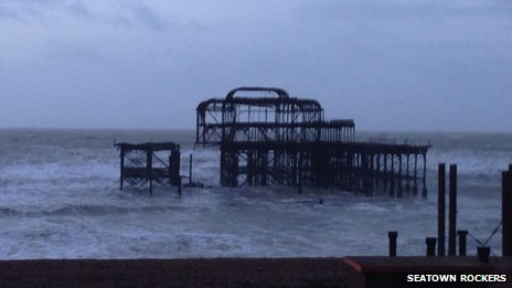 Brighton's West Pier on Tuesday following stormy weather