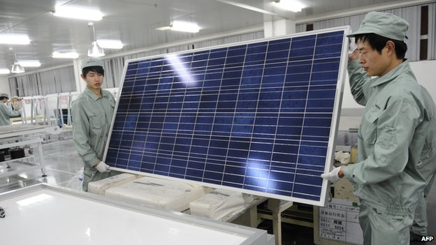 Solar panel being constructed at a factory in China