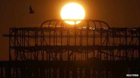 Brighton's West Pier at sunset