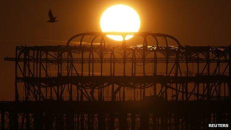 Brighton's West Pier at sunset