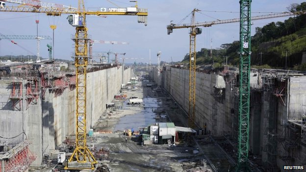 A view of the construction site of the Panama Canal Expansion project on 15 January, 2014