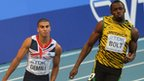 Adam Gemili and  Usain Bolt racing in Moscow World Championships 2013