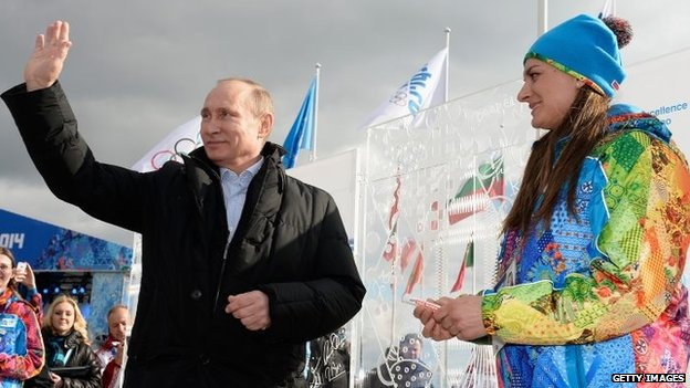 Russian President Vladimir Putin visits the Coastal Cluster Olympic Village in Sochi, Russia, ahead of the Winter Olympics