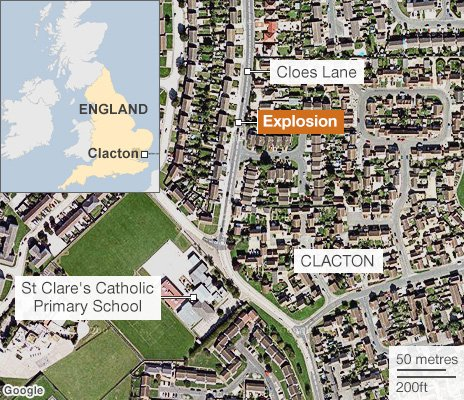 map of the scene in Clacton
