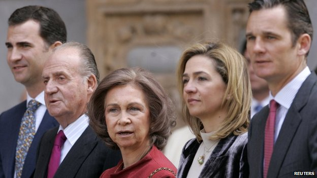 File pic from 2009 from L to R: Prince Felipe, King Juan Carlos, Queen Sofia, Infanta Cristina and Inaki Urdangarin