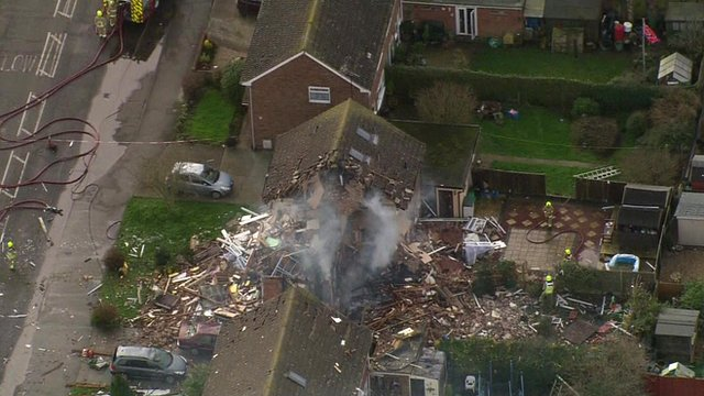 Emergency crews at scene of explosion in Clacton, Essex