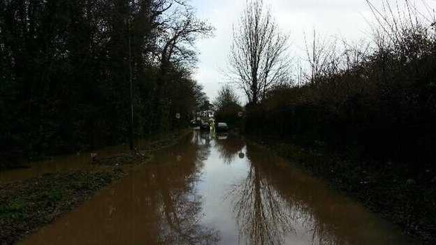 Flooded road at Stoke St Gregory