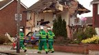 Scene where an explosion destroyed homes on Cloes Lane, Clacton-on-Sea