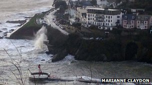 Millendreath and Looe (Banjo pier almost submerged)