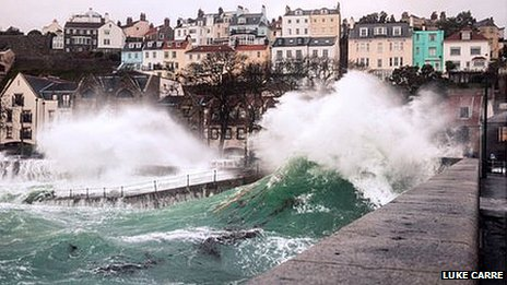 Waves crash against east coast